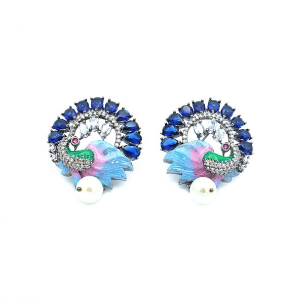 Round Peacock Earring